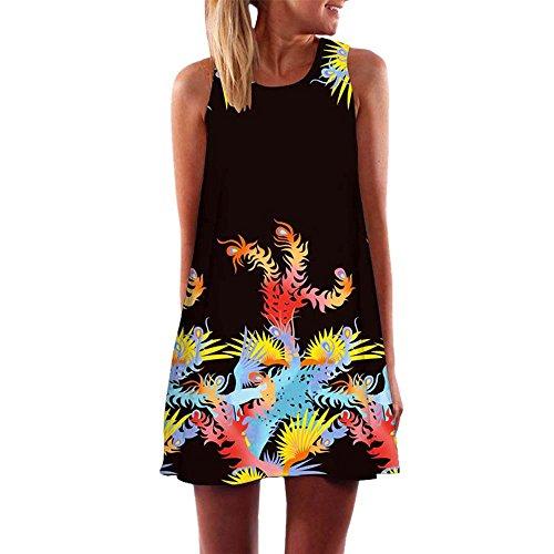 Dressin Vintage Boho Beach Dress, Women Ladies Loose Summer Sleeveless 3D Floral Print Bohe Tank Top Mini Dresses