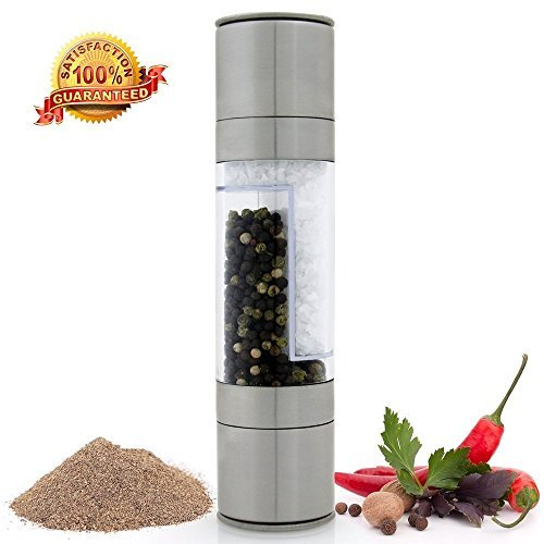 VONOTO 2 in 1 Kitchen Salt & Pepper Grinder Set - 2 in 1 Stainless Steel Model of Highest Quality. The Salt Mill and Pepper Grinder Combines Two Mills Into One Dual Ended Design (2 in 1) by VONOTO