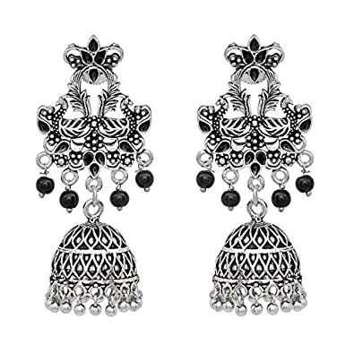 e9cc2fce7 V L IMPEX Oxidized Silver With Black Beads Meena Work Women Jhumka Jhumki  Earrings