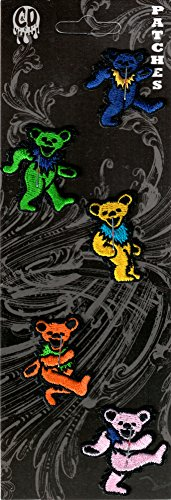 The Grateful Dead - Set of 5 Mini Jerry Bears - Embroidered Iron On or Sew On Patches