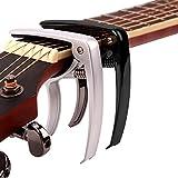 MELODIC Guitar Capo (3 Packs) for Guitars, Ukulele, Banjo, Mandolin, Bass - Made of Ultra Lightweight Zinc Alloy Metal (1.2 oz) for 6 & 12 String Instruments - Black, Golden and Silver