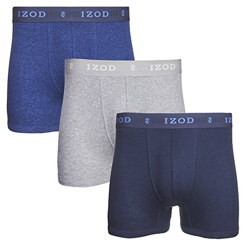 IZOD Mens 3 Pack Cotton Boxer Brief Dress Blues/Heather Grey/Dress Blues Print M
