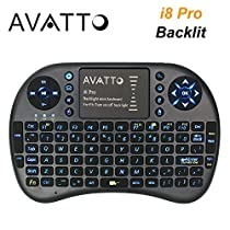 AVATTO i8 Pro LED Backlit 2.4GHz Wireless Portable Mini Keyboard and Mouse for Smart TV Android TV Box Laptop PC Raspberry Pi 3 PS4 XBox One
