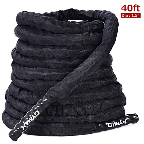 Goplus Battle Rope 1.5 2in Diameter, 30 40 50ft Length Poly Dacron Exercise Training Rope with Anchor for Cardio Core Strength Training