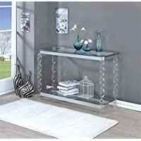 Furniture of America Amora Console Table in Chrome