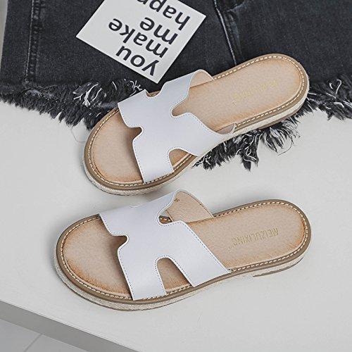 de Verano en de Use Remolque Frío Cuero al de de Embarazadas H Fondo Libre Blanco de Aire Cuero Mujeres Plano Mujeres de Antideslizantes Las Zapatillas Zapatillas 8gxv8