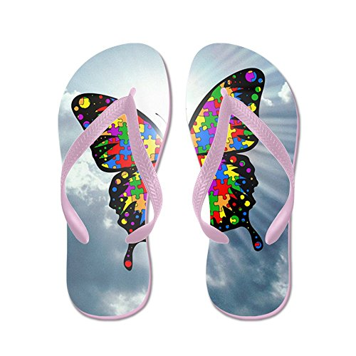 CafePress Autism Butterfly Sky - Square - Flip Flops, Funny Thong Sandals, Beach Sandals Pink