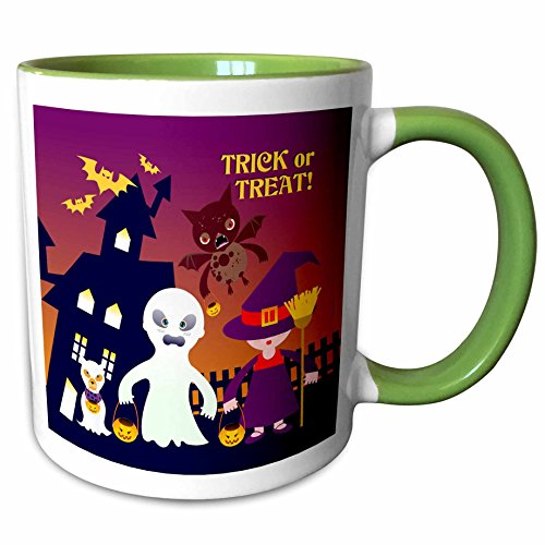 3dRose Belinha Fernandes - Halloween Celebration - Trick or treat message and kids dressed up as ghost and witch with dog ghost - 15oz Two-Tone Green Mug (mug_125918_12)