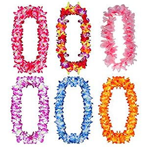 JSSHI Pack of 6 Large Size Hawaiian Ruffled Simulated Silk Flower Hula Luau Party Leis Necklace Accessories for Holiday Wedding Birthday Decorations Party Costumes 59