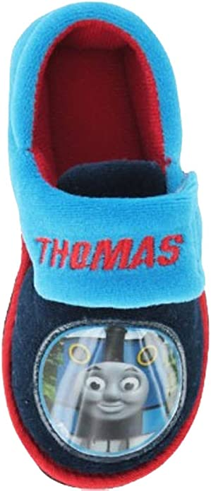 Thomas The Tank Engine Boys Slippers in Blue and Red with Touch Fastening