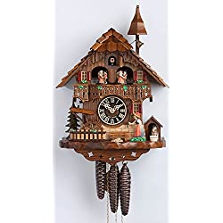 1 Day Musical Black Forest Chalet Cuckoo Clock with Bell Tower and Bell Ringer By Hönes