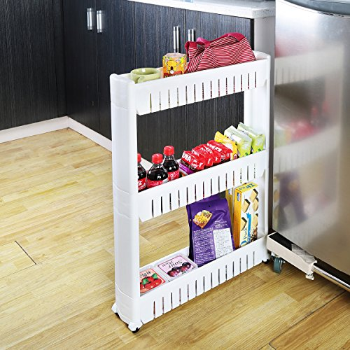 Storage Cart, Creatwo 3 Tiers Rolling Cart Removable Storage Rack on Wheels for Kitchen and Laundry, White by Creatwo