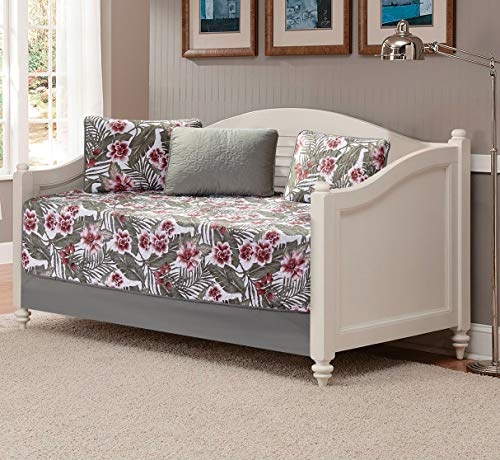 MK Home 5pc Daybed Quilted Bedspread Coverlet Set Flowers Leaves Sage Green Burgundy White New