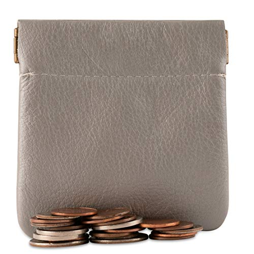 Genuine Leather Squeeze Coin Purse, Pouch Made IN U.S.A. Change Holder For Men/Woman Size 3.5 X 3.5
