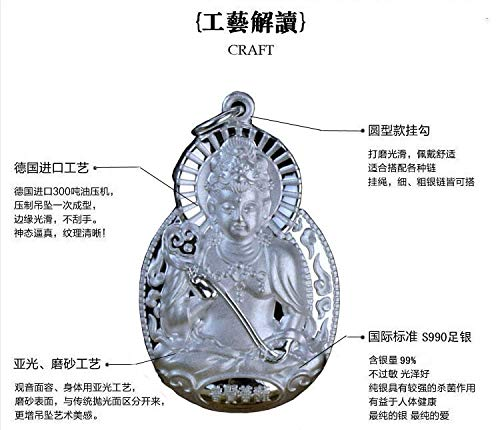 (ZAMTAC Tibet S990 Sterling Silver is a Snake in This Life fo kaiyun samantabhadra bodhisattva Pendant Necklace Charms - (Size: 6g 40cm Silver chai))
