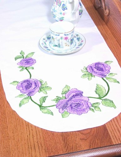 (Fairway 18245 Dresser Scarf, Cross Stitch Rose Vine Design, White, Perle Edge)