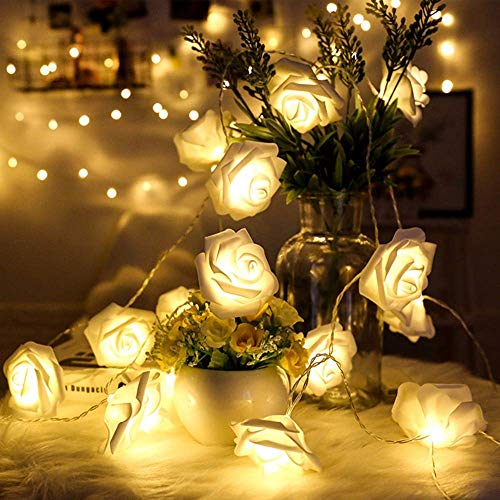 Rose Lights, Rose Flower Fairy String Light with 2 Optional Colors, 10ft 20 LEDs Battery Operated Night Light with Remote Control for Kids Bedroom, Mirror, Walls, Windows, Wedding (White&Yellow) -