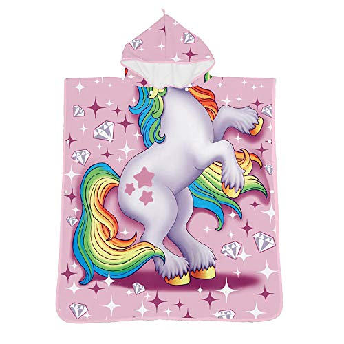 Toddler Hooded Beach Towel,Pink Unicorn Pattern for 6 Years Old or Older Children,Kids Swim/Beach/Shower Towel Cutie Coverup Poncho Cape,Super-Absorbent for Girls -