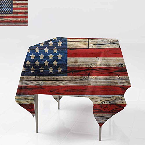 AndyTours Tablecloth for Kids/Childrens,4th of July,Wooden Planks Painted as United States Flag Patriotic Country Style,for Square and Round Tables,54x54 Inch Red Beige Navy Blue