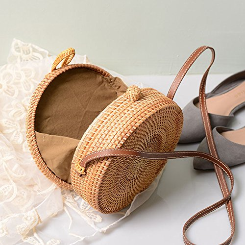 Straw Crossbody Bag, Vintage Handwoven Round Ata Rattan Shoulder Bag Straw Purse with Bow Clasp by KNUS (Image #5)