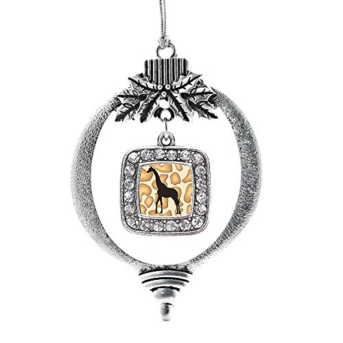 Inspired Silver Giraffe Silhouette Classic Holiday Christmas Tree Ornament With (Christmas Tree Silhouette)
