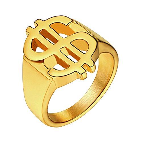 U7 Men 18K Gold Plated Hip Hop Style Dollar Sign Ring Signet, Size 7