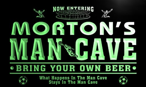 qd1462-g MORTON's Man Cave Soccer Football Neon Beer Sign by AdvPro Name