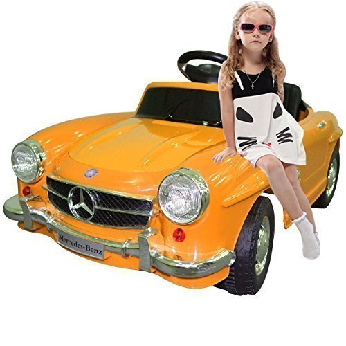 Yellow mercedes benz 300sl amg rc electric toy kids baby for Mercedes benz toy car ride on