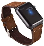 Apple Watch Genuine leather real strap watch band Suede band with 2 x metal buckle black Adapter Replacement Connector Luxury 1 pair 42 mm Basic, Sport, Edition - in Brown by OKCS