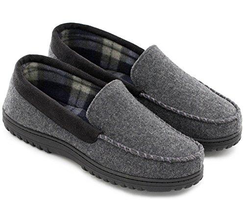 - HomeTop Men's Indoor Outdoor Wool Micro Suede Moccasin Slippers Flats (45 (US Men's 12), Dark Gray)