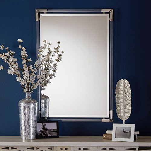 (Christopher Knight Home 303529 Elissa Rectangular Wall Mirror with Clear Acrylic Frame and Stainless Steel Edges,)