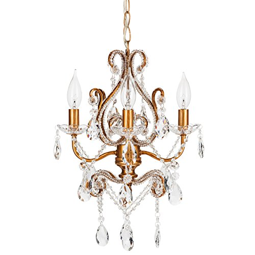 Josephine Vintage Gold Crystal-Beaded Chandelier, Mini Nursery Plug-In Glass Pendant 4 Light Wrought Iron Swag Ceiling Lighting Fixture Lamp (Vintage Gold Crystal)