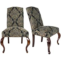Sole Designs SL3003 Collection Contemporary Camelback Style Patterned Fabric Upholstered Dining Chair (Set of 2), Black and Gold