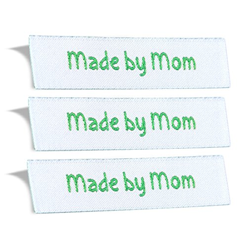 Wunderlabel Made by Mom Mother Crafting Fashion Woven Ribbon Ribbons Tag for Clothing Sewing Sew on Clothes Garment Fabric Textile Material Embroidered Label Labels Tags, Green on White, 25 Labels by Wunderlabel