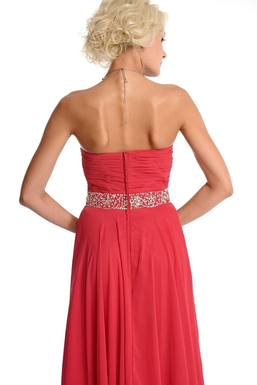 Amadeo Elegant Watermelone Chiffon Beading A Line long Bridesmaid Dresses LF015