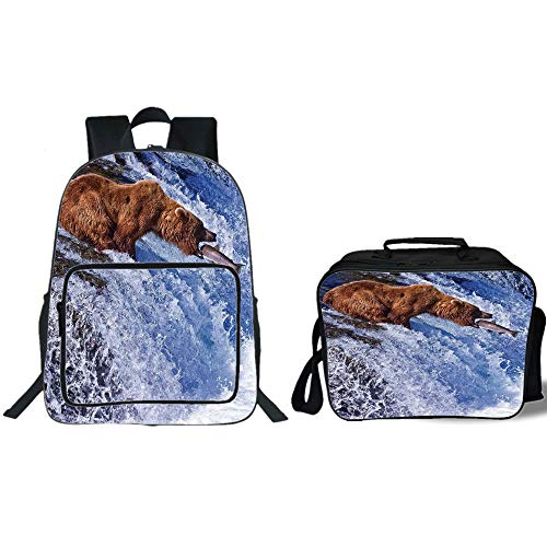 """iPrint 19"""" School Backpack & Lunch Bag Bundle,Nature,Grizzly for sale  Delivered anywhere in USA"""