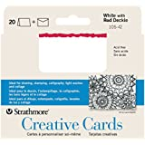 Strathmore STR-105-42 White/Red Deckle Card (20 Pack)