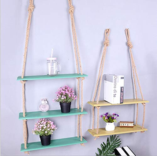 MARGUERAS Wall Hanging Shelf Swing Rope Floating Shelves Home Decor,