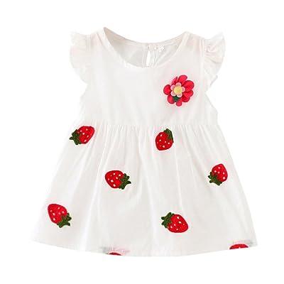 BOBORA Bebe Filles Toddler Princess Dress Coton Robe Sans Manches en Coton a la Fraise