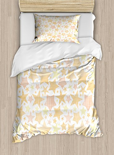 Ambesonne Stars Twin Size Duvet Cover Set, Abstract Pattern