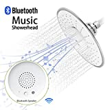 Morpilot Rainfall Shower Heads with Waterproof Music Jet Wireless Bluetooth Speaker Polished Chrome Showerhead Audio Box Built-in Mic with Answer Calls Button