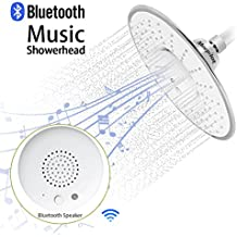 Morpilot Shower Head, Polished Chrome Top Spray Rain Shower Head with Waterproof Music Jet Wireless Bluetooth Speaker, Showerhead Audio Box Built-in Mic with Answer Calls Button