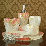 Bathroom Suites BL@ European modern resin wash set rose garden, white bathroom suite set of six