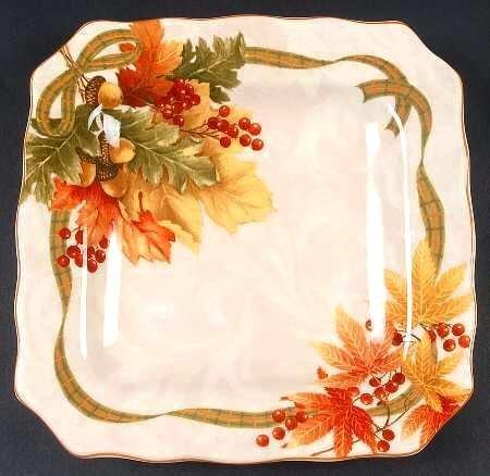 222 Fifth Autumn Celebration Square Salad Plates, Set of 4 Harvest Thanksgiving ()