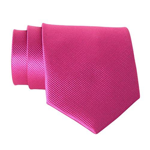QBSM Fuchsia Hot Pink Mens Solid Neckties Groom Wedding Party Groomsmen Gift Tie - Hot Pink Necktie
