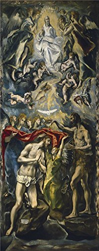'El Greco The Baptism Of Christ Ca. 1598 ' Oil Painting, 16 X 40 Inch / 41 X 102 Cm ,printed On Polyster Canvas ,this High Resolution Art Decorative Canvas Prints Is Perfectly Suitalbe For Powder Room Decoration And Home (Greco Painting)