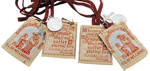 Traditional Best Brown Mt. Carmel Scapular Brown Cord with Benedict Medal and Crucifix 100% Wool & Hand-made in USA By Nuns. Cord Is 18 Inches in Length- Quantity 2 ()