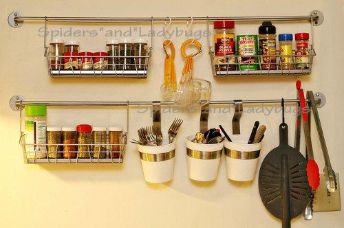 Amazon.com: Ikea Bygel Kitchen Organizer Set, Rail And 10 Hooks, Silver:  Coat Hooks: Kitchen U0026 Dining