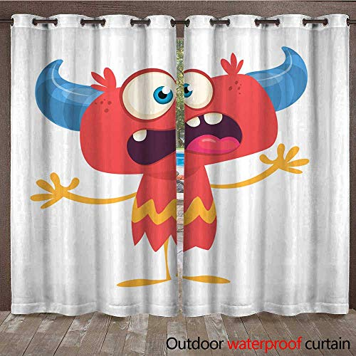 RenteriaDecor Home Patio Outdoor Curtain Funny Excited Cartoon Devil Vector Illustration for Halloween Party Decoration Postcard Design W96 x -