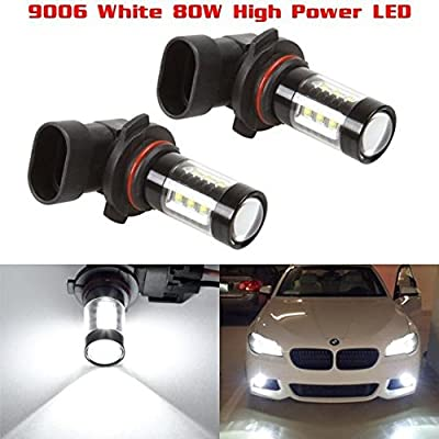Partsam Cost-effective Pack2 9006 HB4 80W White 6000K Fog Light Driving Lamp made by High Power Epistar LED w/ in-bulit IC Control and Black Auminum Alloy